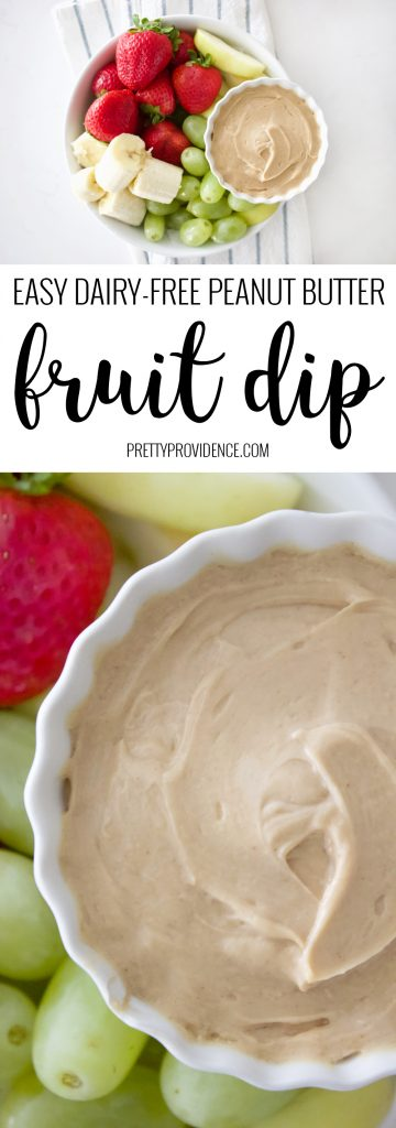 Healthy and delicious dairy free peanut butter fruit dip! My kids LOVED this stuff, and so did I!
