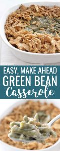 Green Bean Casserole Close Up and in a white serving dish.