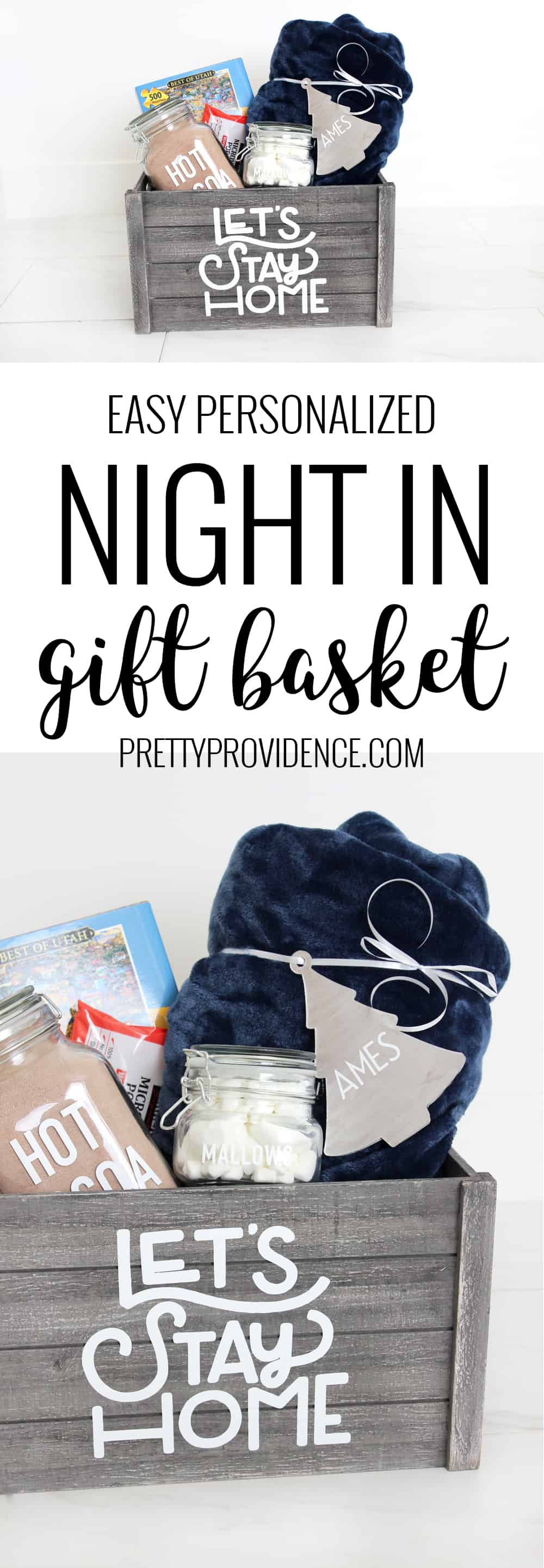"Loving this easy personalized ""night in"" gift basket idea! Easy to put together but can be used again and again! Perfect gift for close friends."