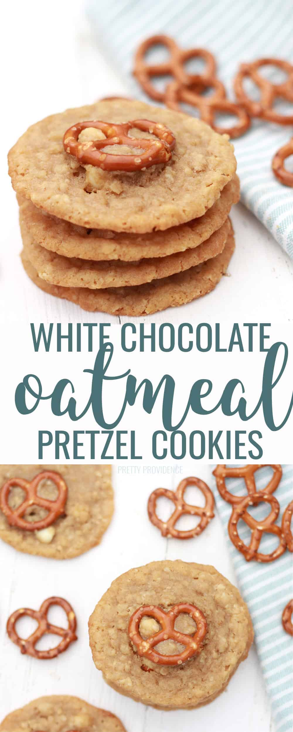 White Chocolate Chip Oatmeal Pretzel Cookies! Yes, it's a delicious MOUTHFUL! The sweet and salty flavors make a perfect cookie. #cookies #cookie #cookierecipe #whitechocolatechips #pretzel #sweetandsalty #easycookierecipe #christmas #baking #easyfoodrecipe
