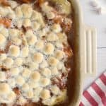 Super easy and delicious sweet potato casserole using canned yams and marshmallows!