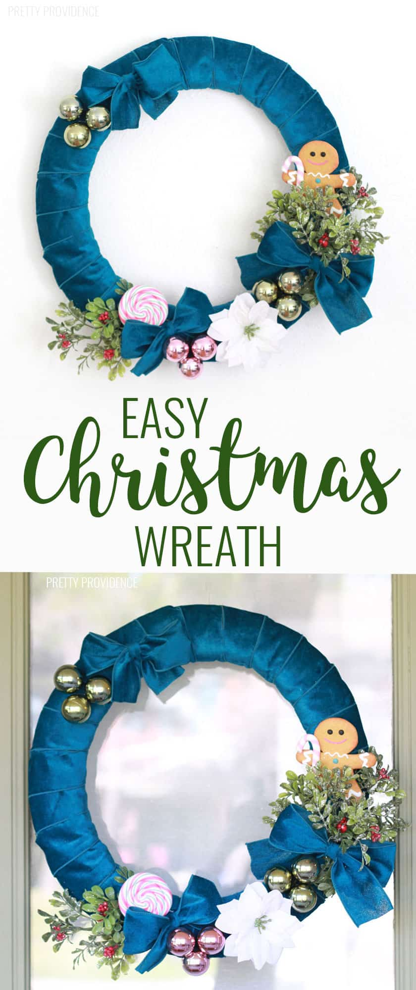 DIY Christmas Wreath with Velvet Ribbon. Vintage-inspired and colorful. This easy wreath is so fun to make! #christmas #wreath #diywreath #ribbon #ornaments #midcenturymodern #christmasideas #christmasdecor #christmasdecorations