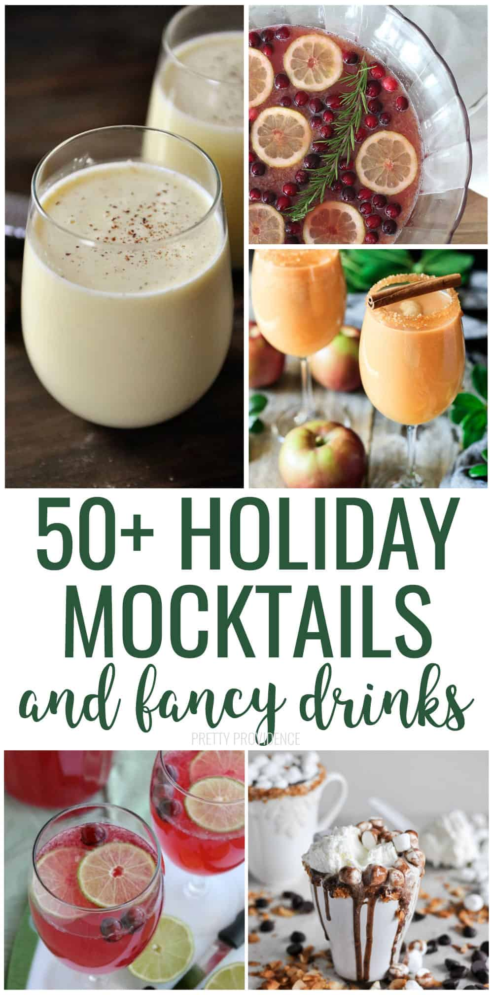Delicious Mocktails and Fancy Holiday Drinks - all non-alcoholic! Fancy punch, homemade sparkling cider recipes and all kinds of hot chocolate! #mocktail #mocktailrecipe #drinkrecipe #nonalcoholic #christmas #christmasparty #punch #holidayrecipes #christmasrecipes