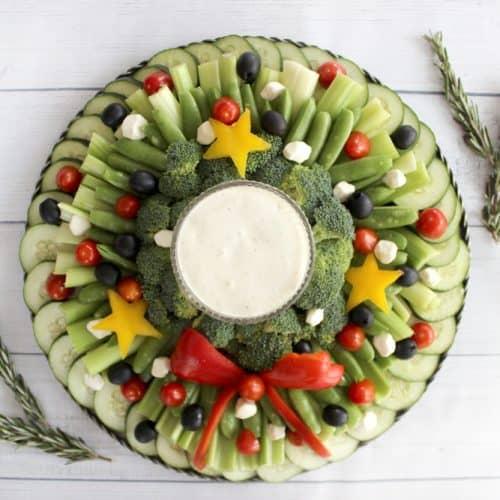 Easy Veggie Tray Wreath
