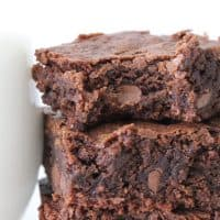 The BEST EVER homemade brownies! Flaky on the outside, fudgy on the inside, so easy and so GOOD!