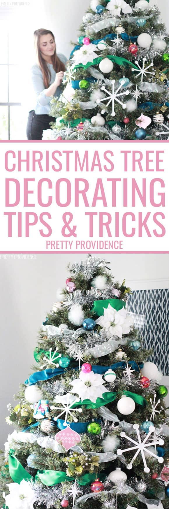 Tips and tricks for how to decorate a Christmas tree with ribbon, creating a toddler proof Christmas tree, and more! #christmas #christmastree #christmasdecor #christmastreeideas #toddlerproof #babyproof #christmasdecorations #christmastrees #ornaments #homemadechristmas