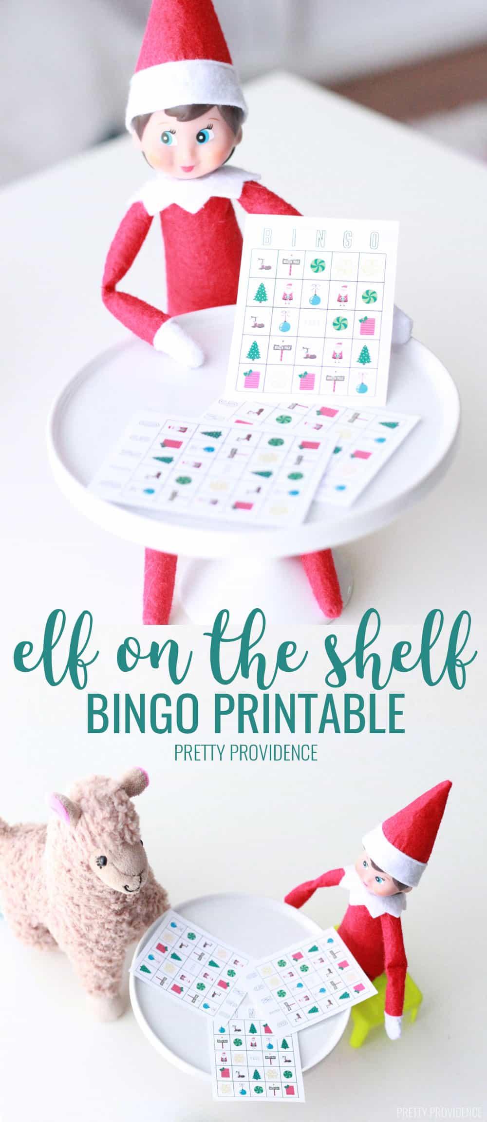 This Elf on the Shelf Bingo is a fun and easy Elf on the shelf idea. Print our Elf sized bingo and the regular size to play as a family! #elfontheshelf #elfontheshelfideas #kids #elf #printable #elfprintables #elfontheshelfprintable #elfontheshelfbingo #bingo #christmas #christmasbingo #christmasactivities #christmasideas #kidsideas