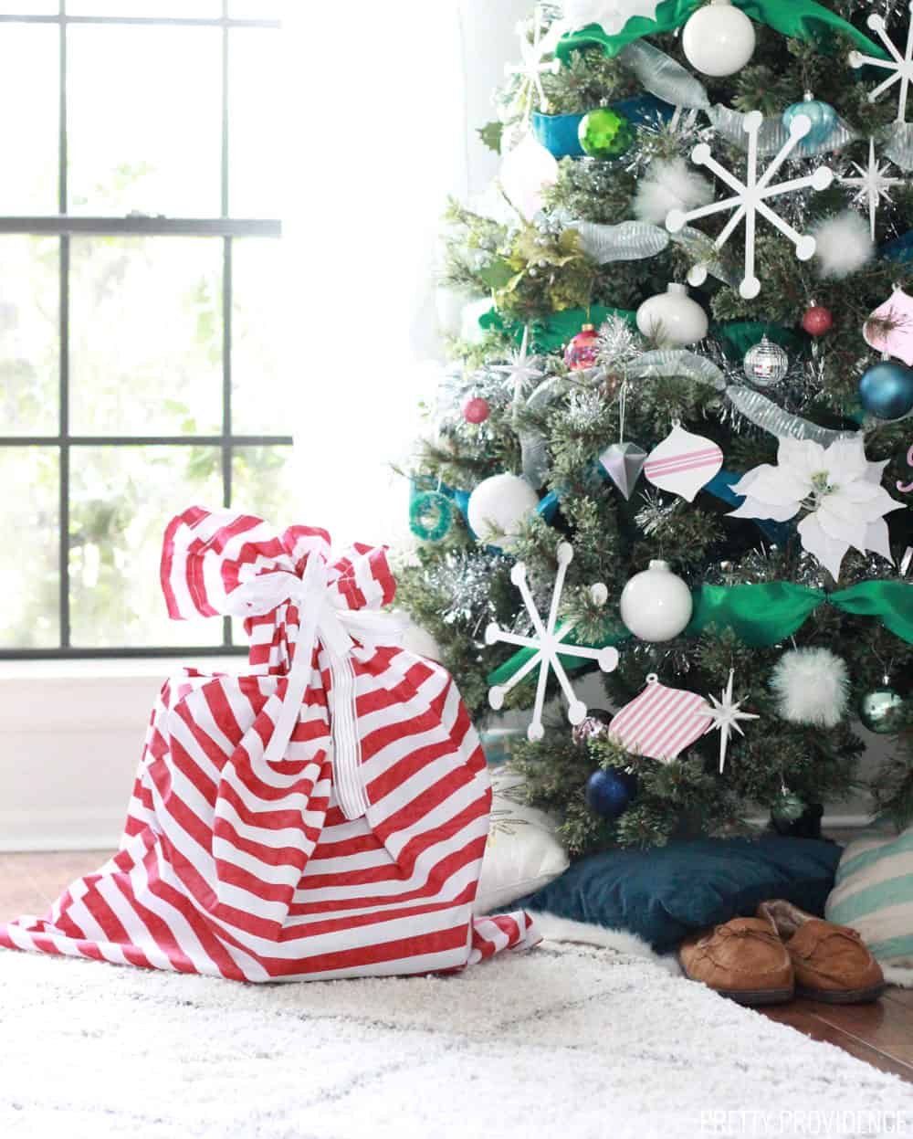 Colorful Christmas Tree with Ribbon
