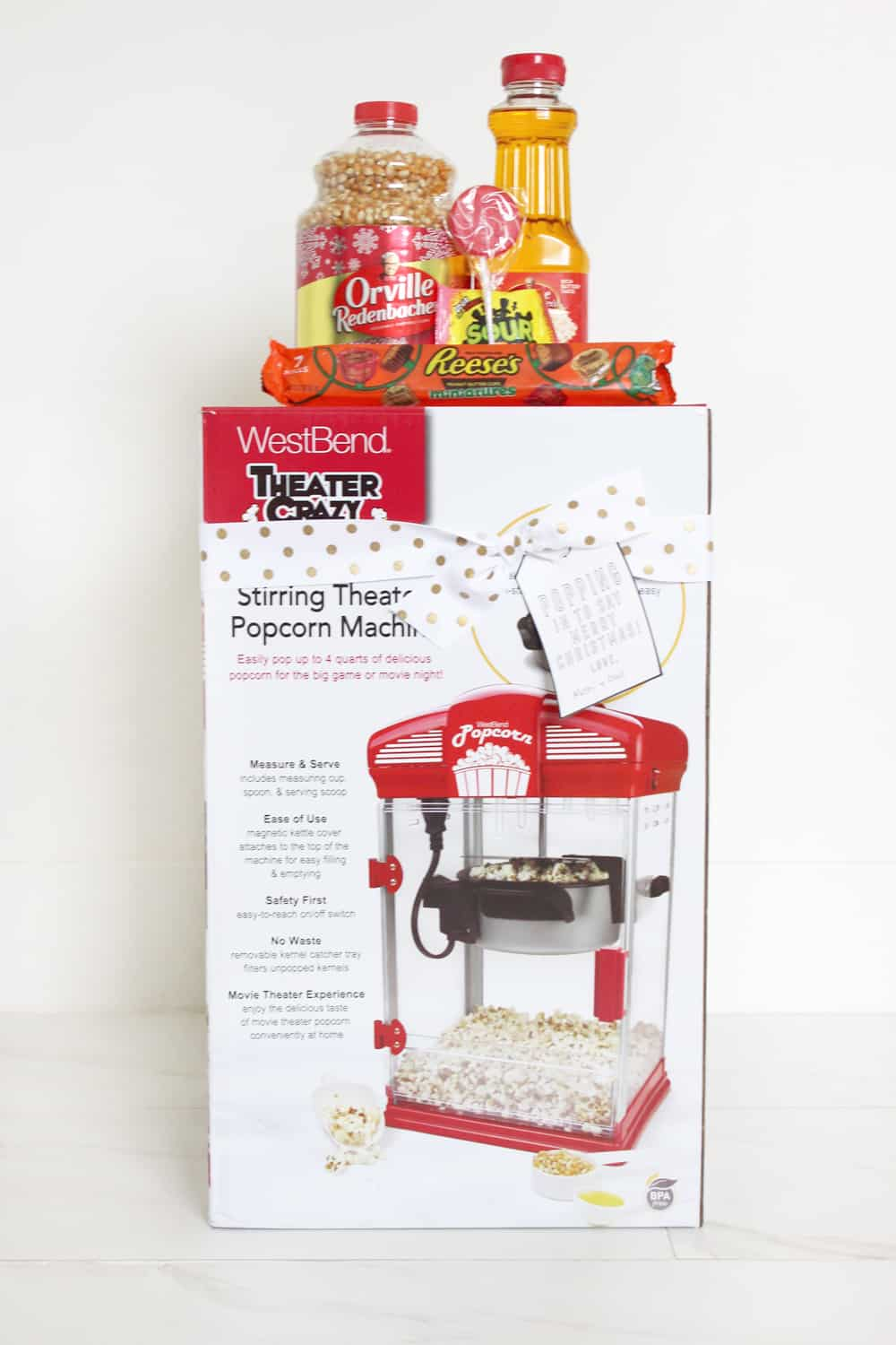Movie theater popcorn maker and snacks! Such a fun gift idea!