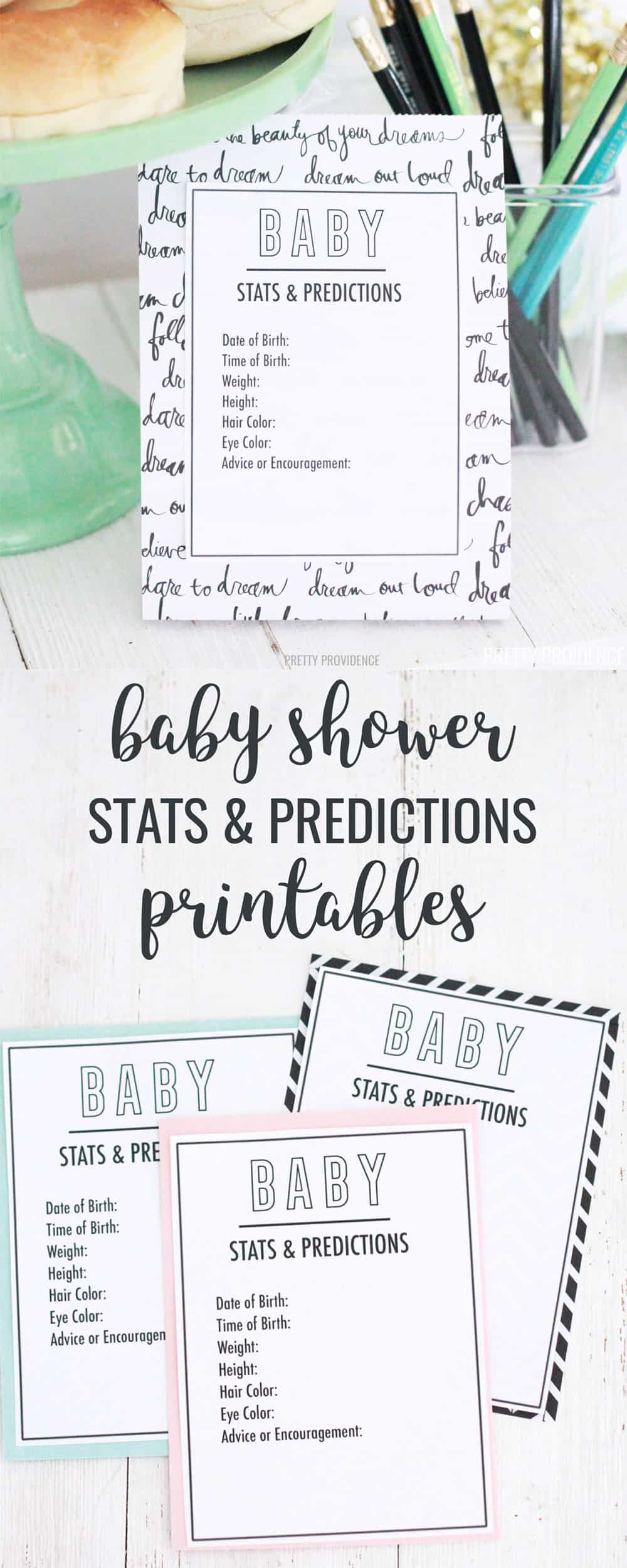 Free printable baby predictions cards with space for advice for the mom-to-be! This free printable baby shower game is cute and will match any theme. #babyshower #babyshowerideas #freeprintable #statsandpredictions #babyshowerprintable #babyshowergames #freebabyshowergames #cheapbabyshower #babyshowerstats #babystats #babypredictionscards