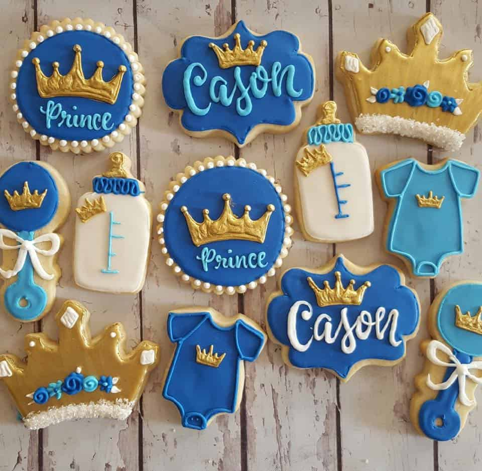 Prince Baby Shower Theme Cookies