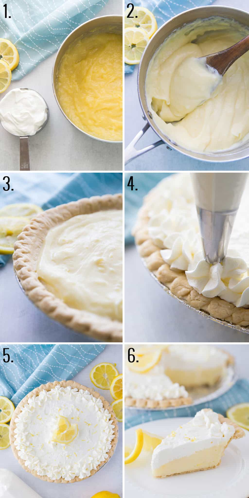 step by step collage of how to make a lemon sour cream pie