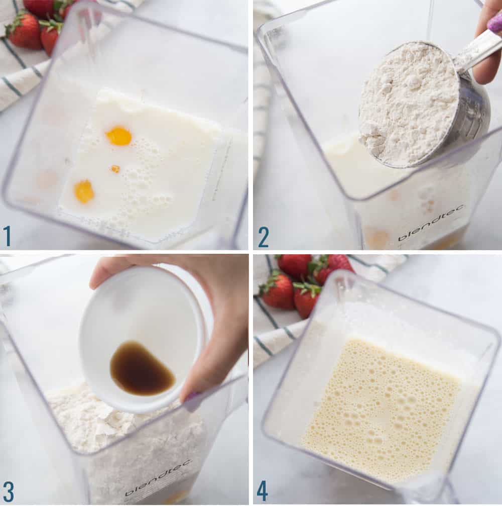 How to make german pancakes - step by step collage of ingredients being added to a blender.