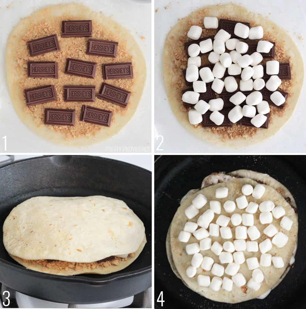 How to Make Dessert Quesadillas step by step - tortilla with graham crackers, chocolate, marshmallows and in a skillet.