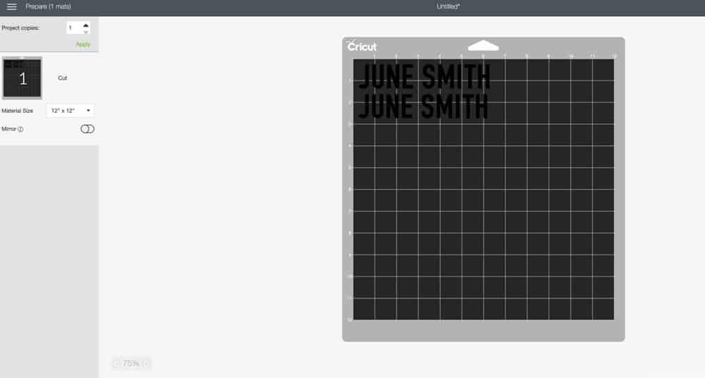 Cricut Design Space June Smith name label cut file.