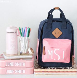 DIY School supplies - monogrammed backpack, water bottle and lunch boxes