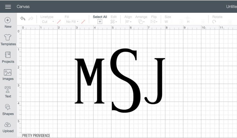 Monogram M S J in Cricut Design Space canvas.