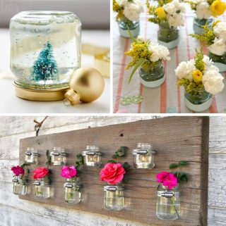 collage of three ways to repurpose baby food jars - a snowglobe top right, vases top left, and an outdoor flower and candle display, bottom