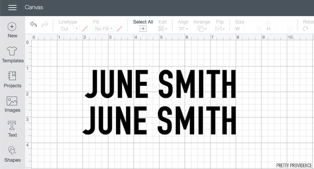 June Smith in Cricut Design Space for labeling lunch boxes.