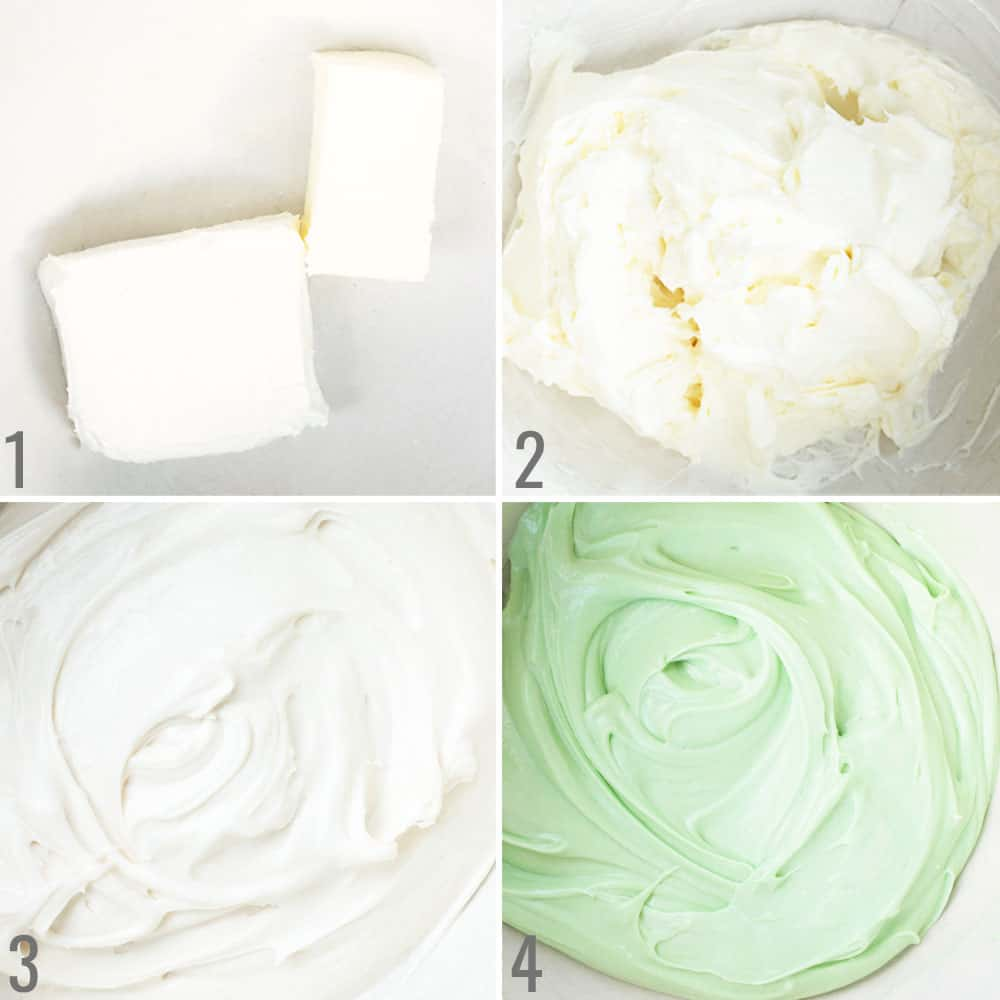 How to make cream cheese frosting, collage. Step 1 cream cheese and butter, step 2 beat, step 3, add powdered sugar and mix. Step 4, add food coloring.