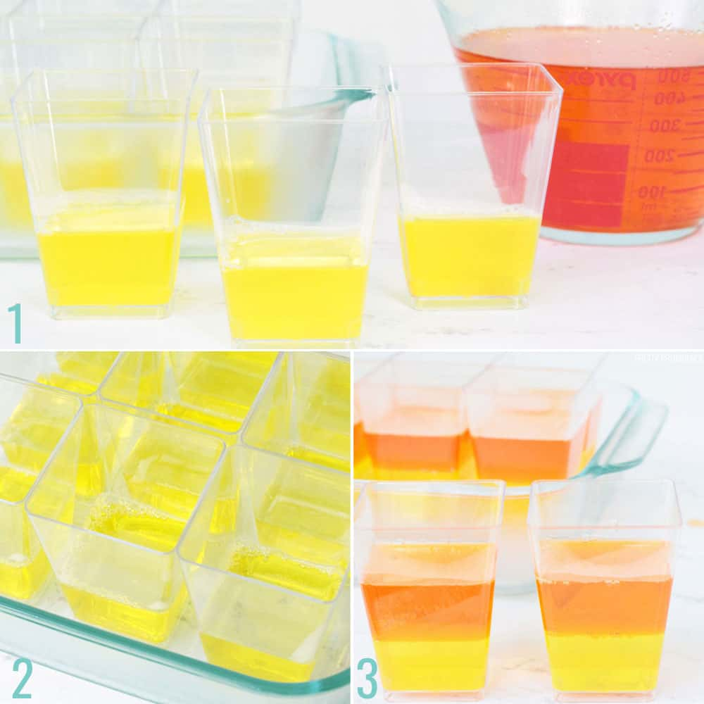How to make layered jello cups. Step 1, pour yellow jello into dessert cups. Step two, refrigerate. Step three, pour orange jello into cups, and refrigerate.