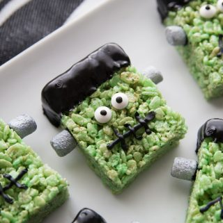 frankenstein rice krispie treat on a white platter