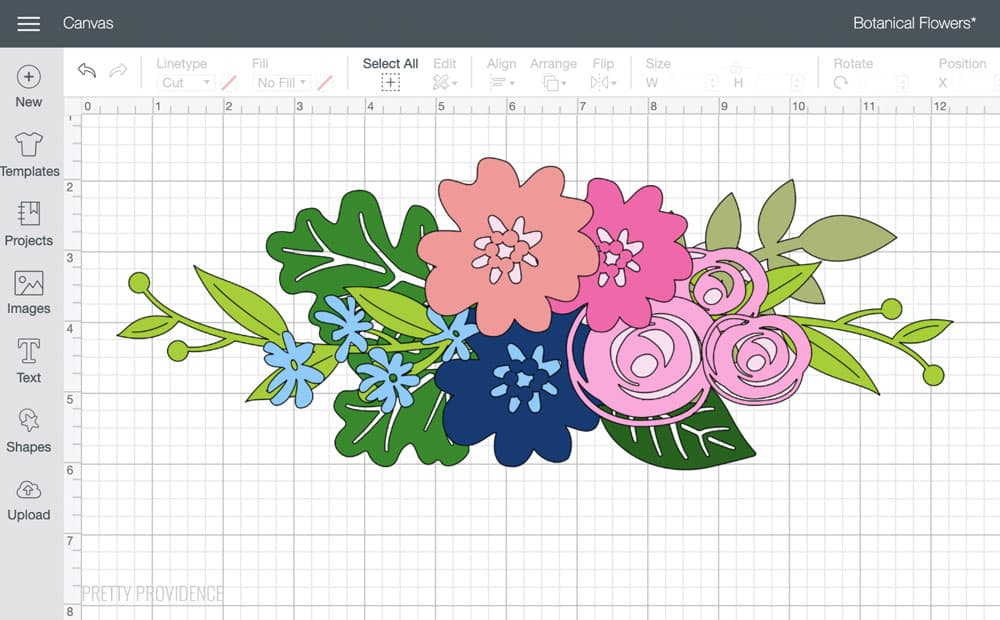 Botanical flower design with in Cricut Design Space canvas.