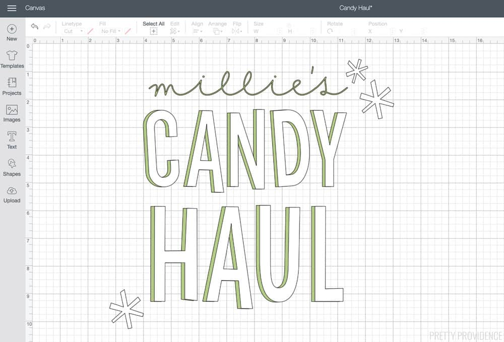 'Millie's Candy Haul' Trick or Treat Bag design in Cricut Design Space