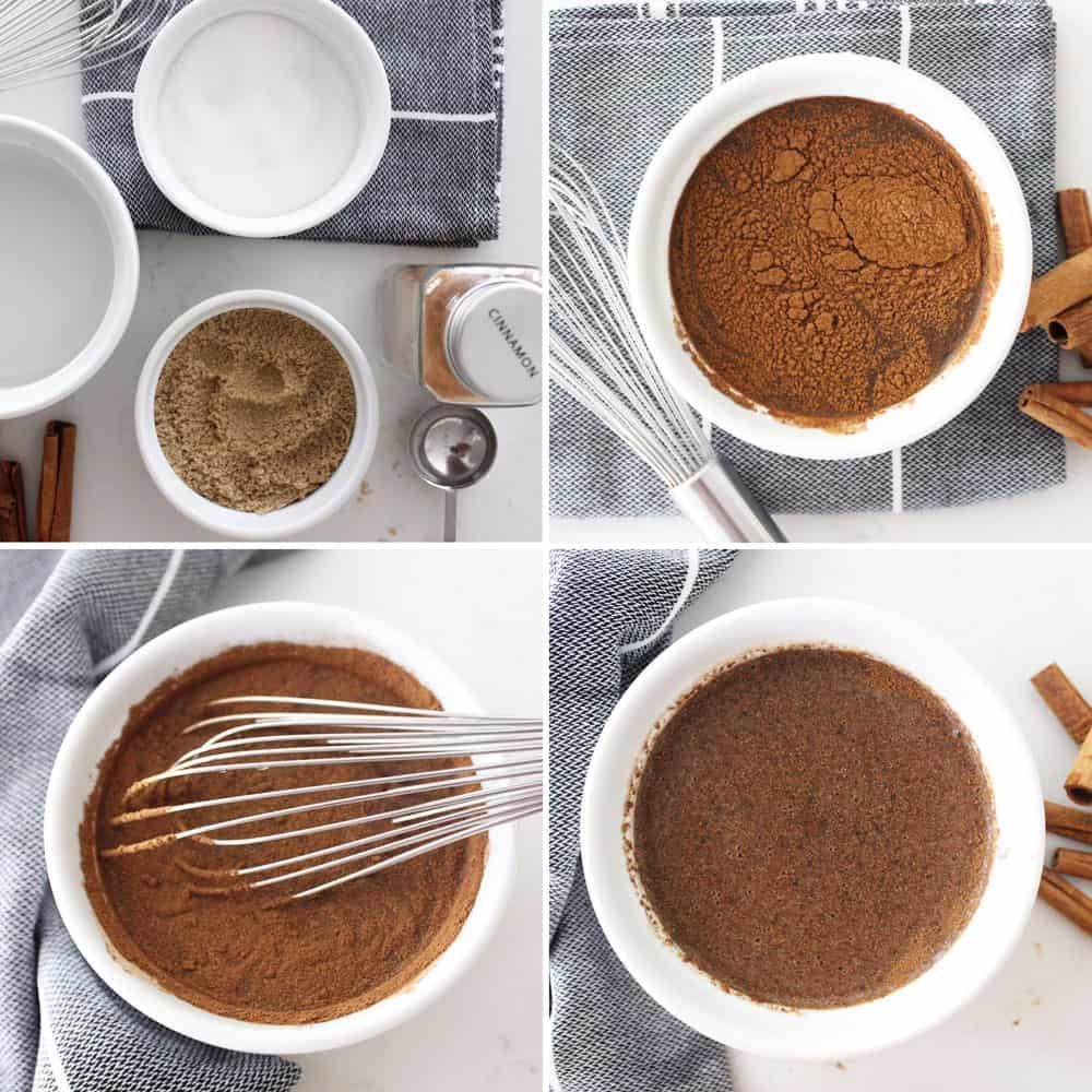 process shots of making cinnamon syrup