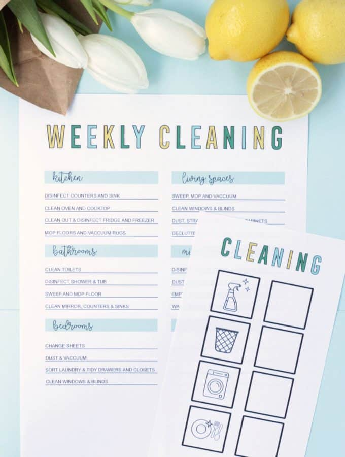 Weekly cleaning checklist and routine, and checklist for kids too with pictures and check boxes!