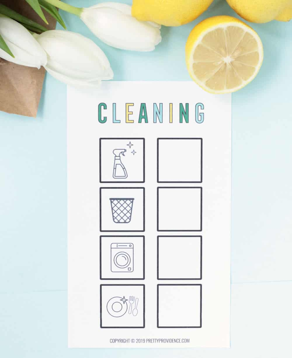 Cleaning checklist for kids with pictures on it and squares to check off tasks as they go.