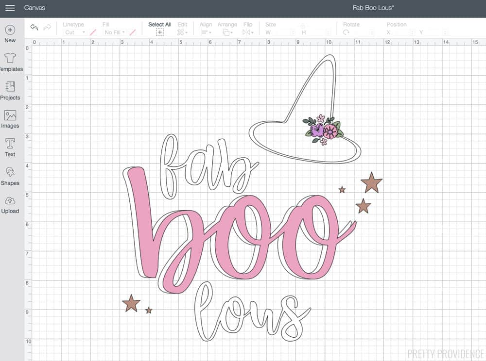 Fab-Boo-Lous Halloween design with floral witch hat and gold stars in Cricut Design Space