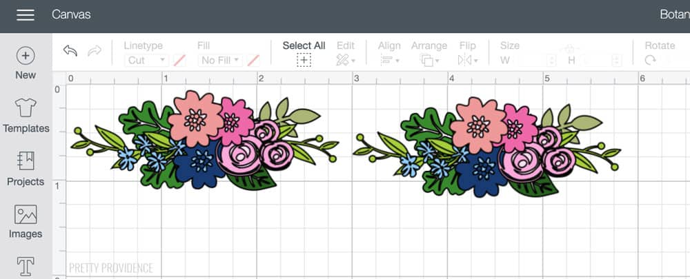 Two of the same botanical floral designs in Cricut Design Space.