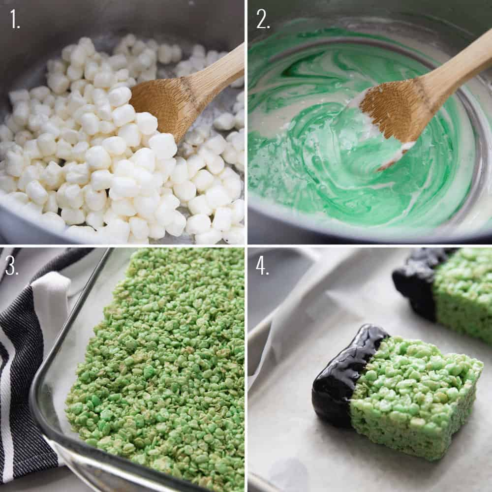 a collage of the process of making frankenstein rice krispies