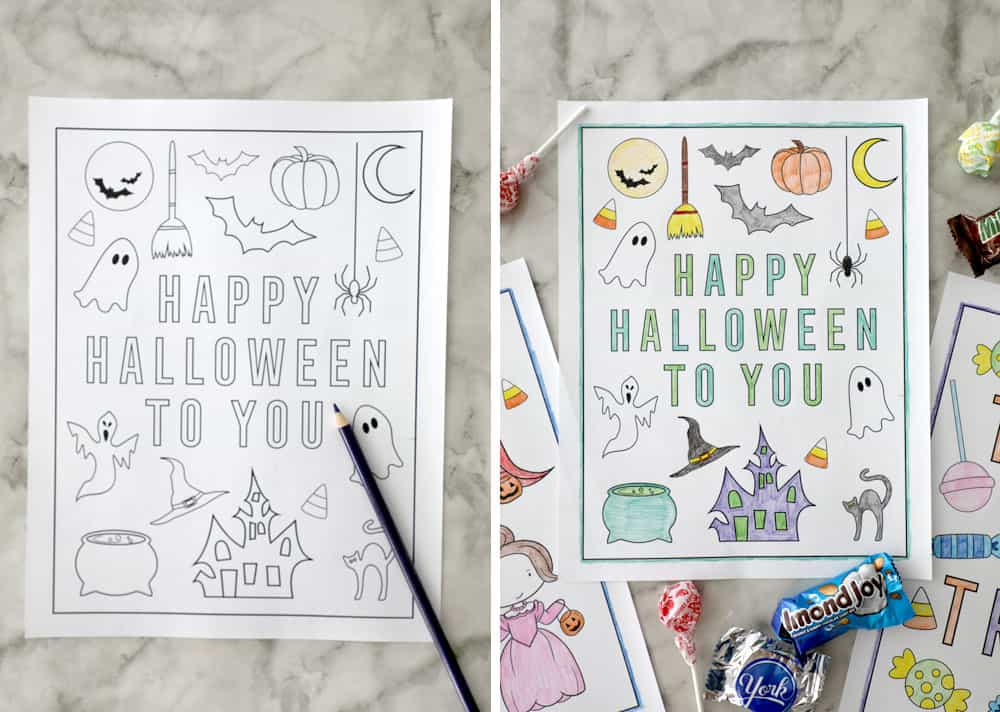 """happy halloween to you"" blank coloring page next to a filled in coloring page"