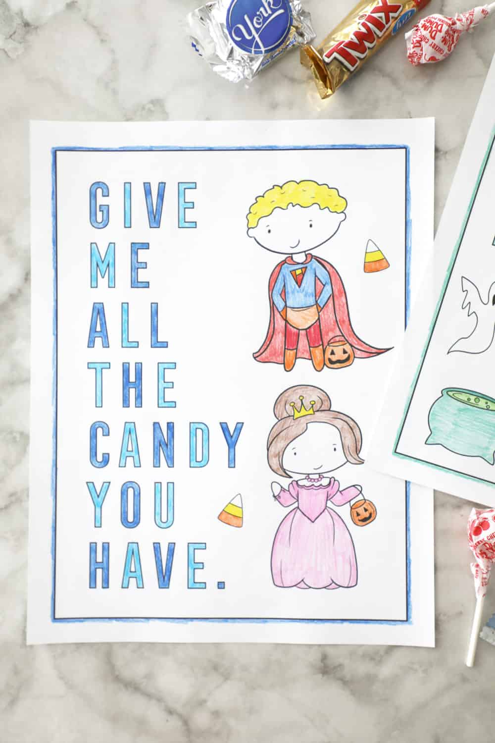 "a halloween coloring page that says ""give me all the candy you have"" with kids in costume"