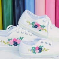Floral sneakers made with Cricut Iron-On to shoes
