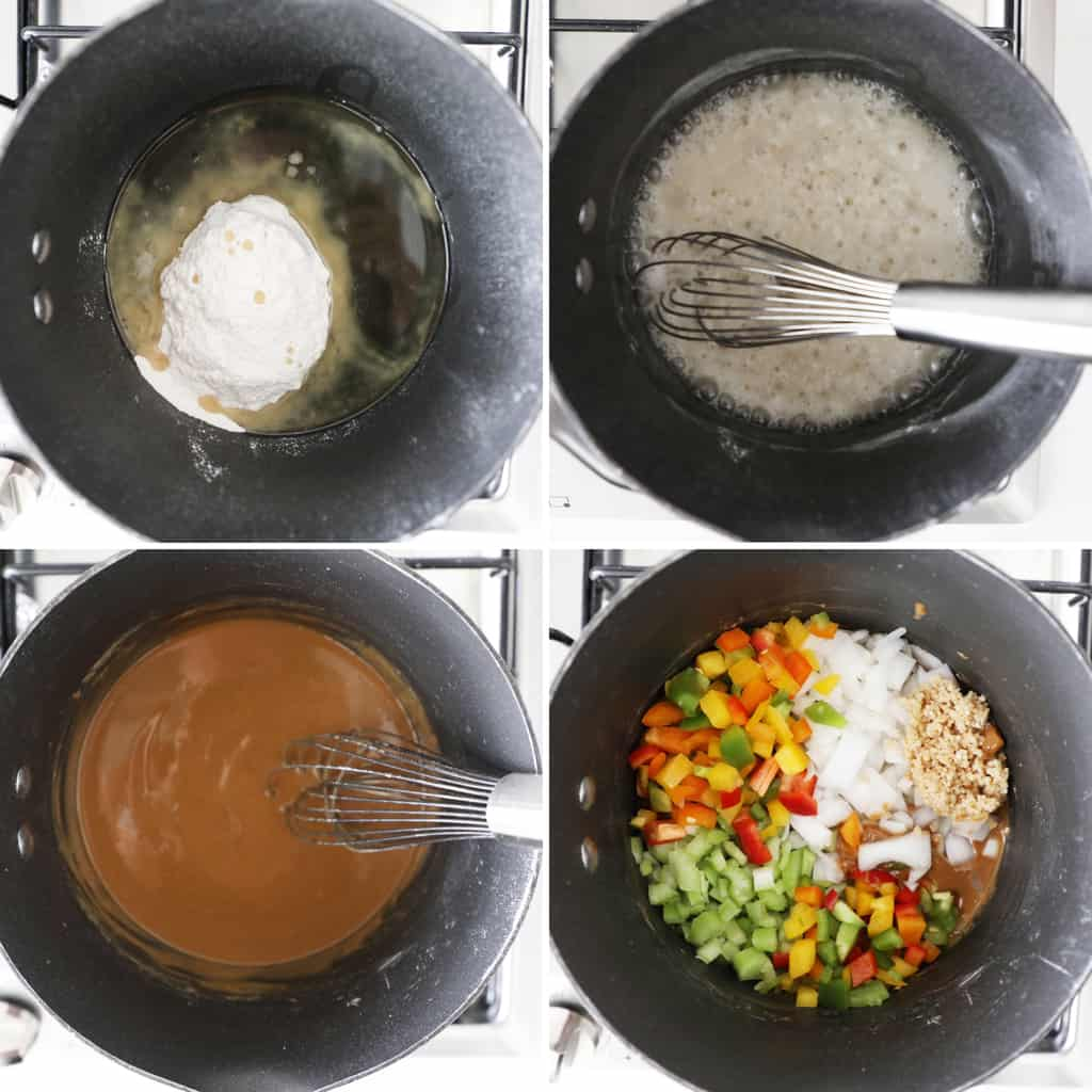 step by step photo collage of making a roux on a stovetop