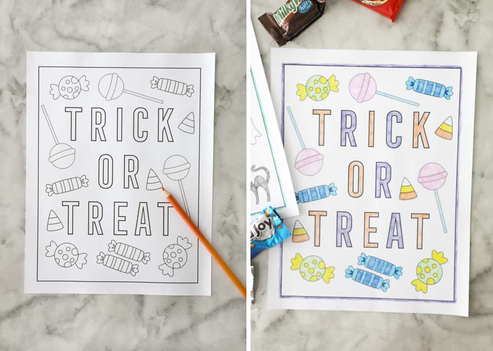 blank trick or treat coloring page next to filled in coloring page