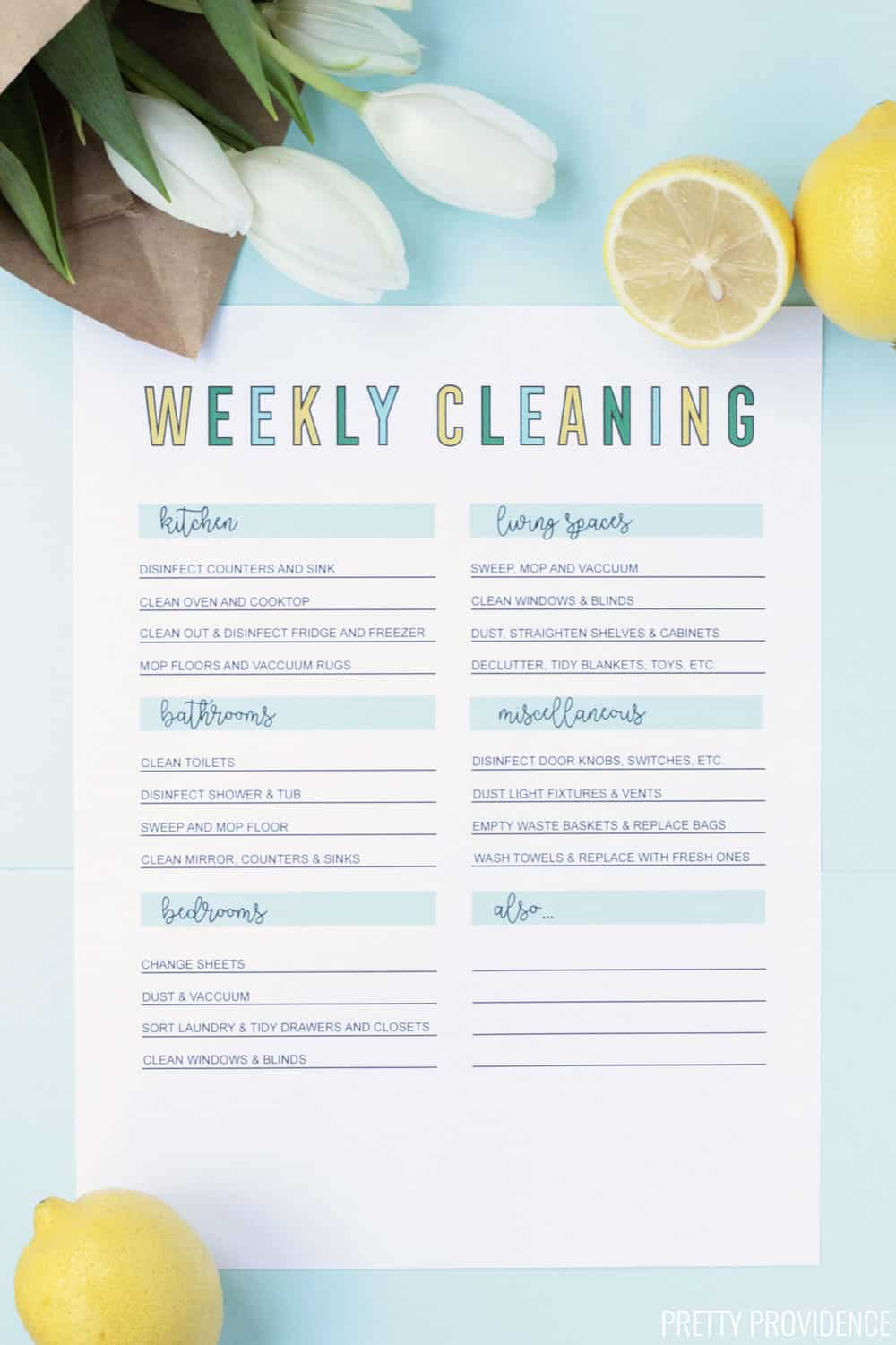 Weekly cleaning routine checklist, printed on white paper with lemon slices and tulips on the side!