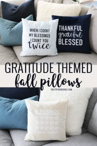 gratitude themed fall pillows in a collage for pinterest