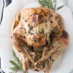 Thanksgiving Turkey on a white platter with fresh herbs sitting on a granite counter next to a tea towel