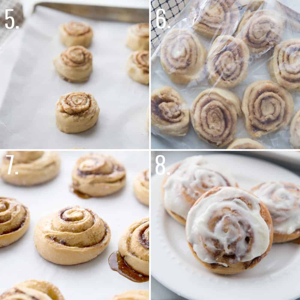 step by step process photo collage for how to freeze cinnamon rolls
