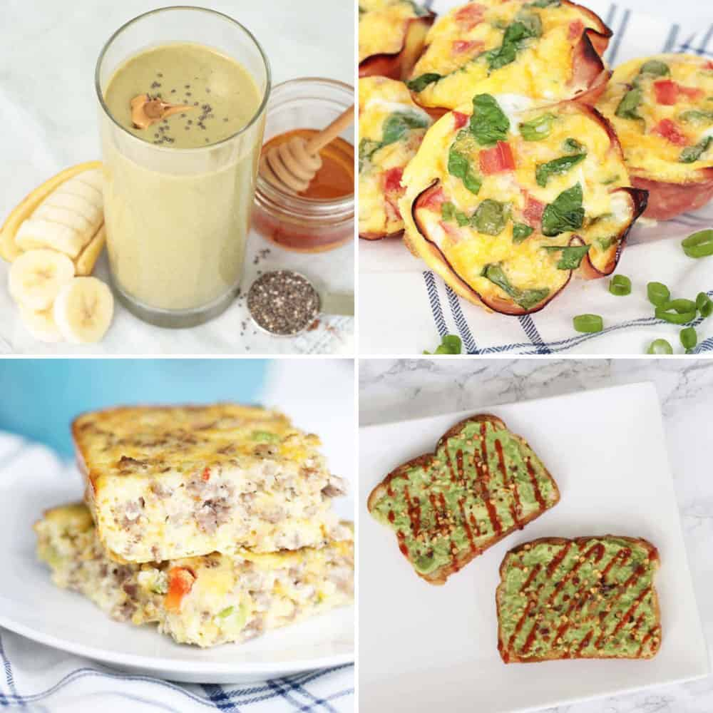 a collage of healthy breakfast ideas: smoothie, egg muffins, casserole, avocado toast