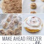 step by step collage for making freezer cinnamon rolls