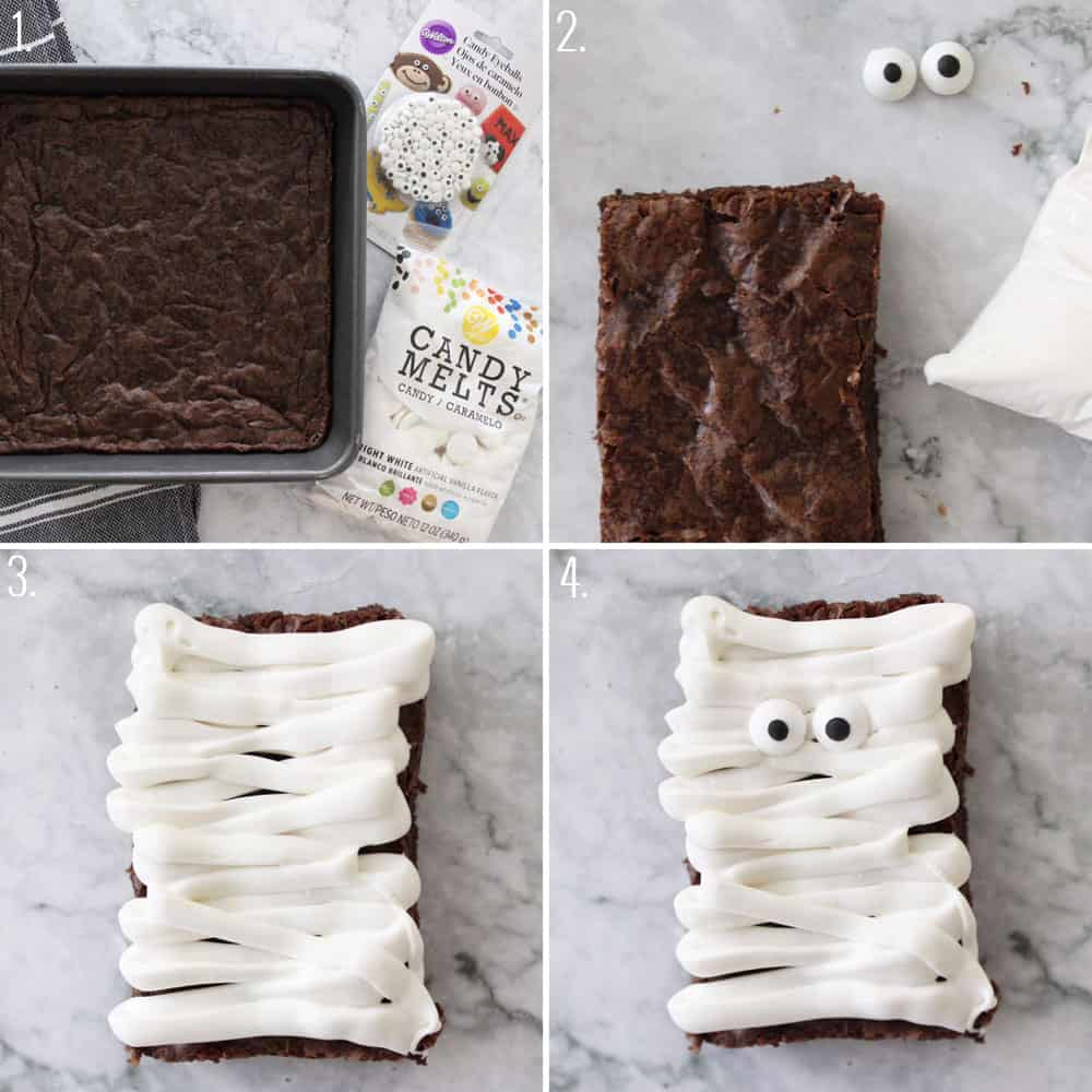 mummy brownies step by step picture tutorial