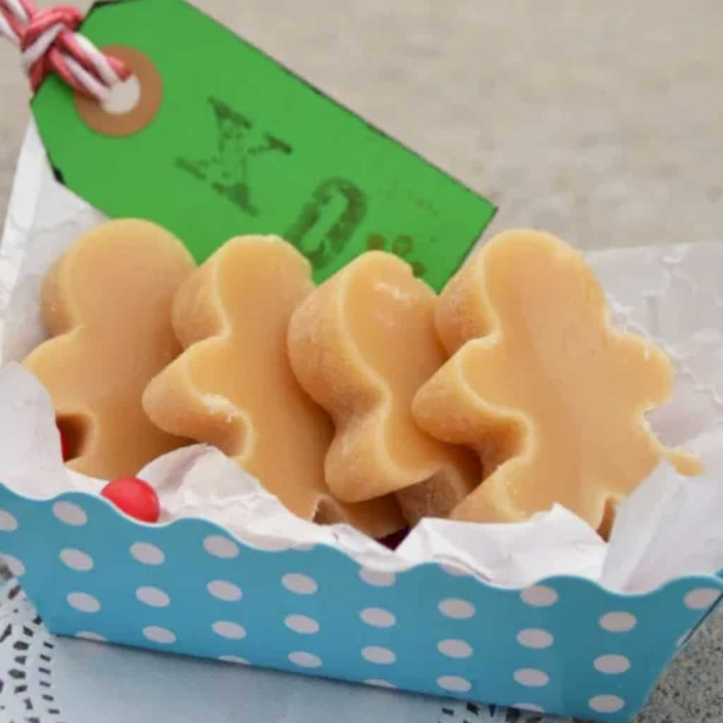 Peanut butter fudge cut into gingerbread man shapes