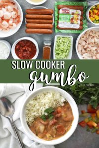 Slow Cooker Gumbo in a white bowl and ingredients on a dark gray surface.