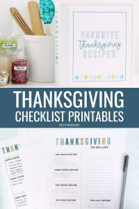 Thanksgiving checklist printables and recipe binder.