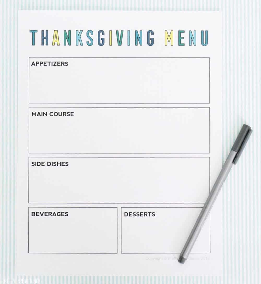 Thanksgiving menu printable planning sheet.